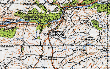 Old map of Ysbyty Ystwyth in 1947