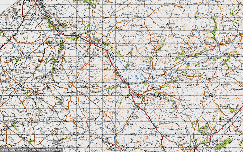Old Map of Historic Map covering Allt y Fron in 1947
