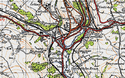 Old map of Ystrad Mynach in 1947