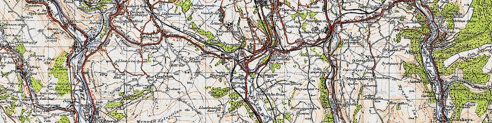 Old map of Ystrad Mynach in 1947