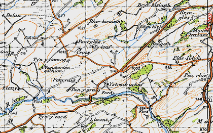 Old map of Ystrad Uchaf in 1947