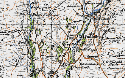 Old map of Ystradfellte in 1947