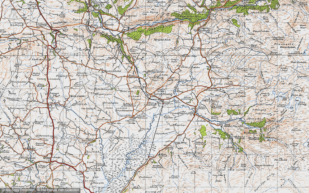 Old Map of Historic Map covering Afon Meurig in 1947