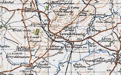 Old map of Ystradmeurig in 1947