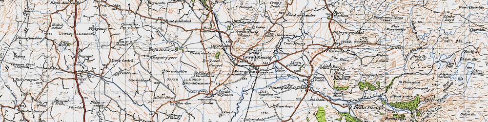 Old map of Afon Meurig in 1947