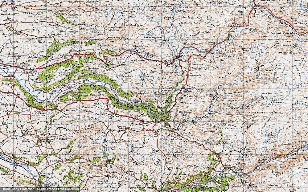 Old Map of Historic Map covering Afon Rheidol in 1947
