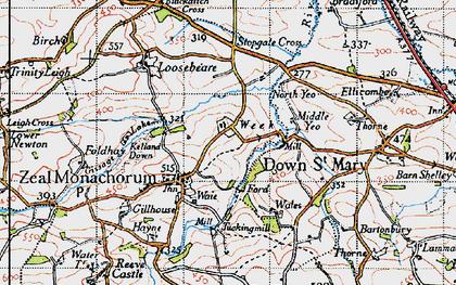 Old map of Zeal Monachorum in 1946