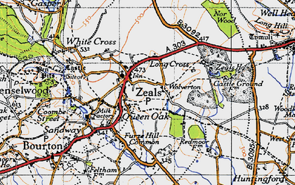 Old map of Zeals in 1945