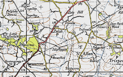 Old map of Zelah Hill in 1946