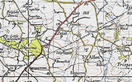 Old map of Zelah in 1946