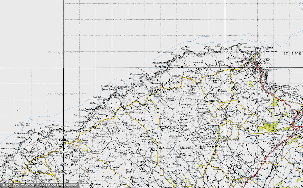 Old Map of Zennor, 1946 in 1946