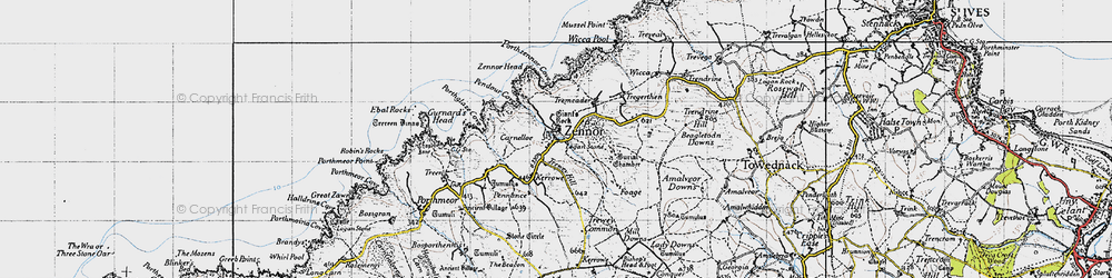 Old map of Zennor in 1946