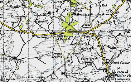 Old map of Zoar in 1946