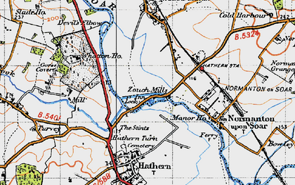 Old map of Whatton Ho in 1946