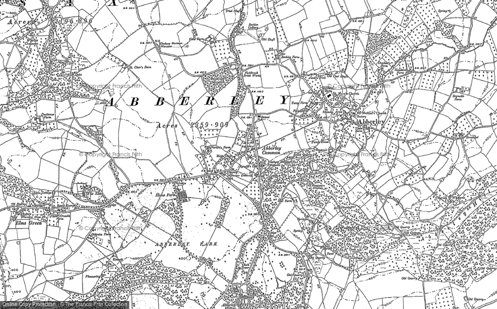 Old Map of Abberley, 1883 in 1883