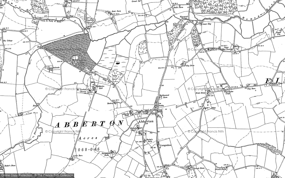 Old Map of Historic Map covering Abberton Manor in 1895