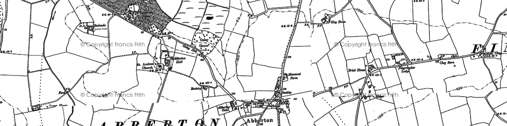 Old map of Abberton in 1895
