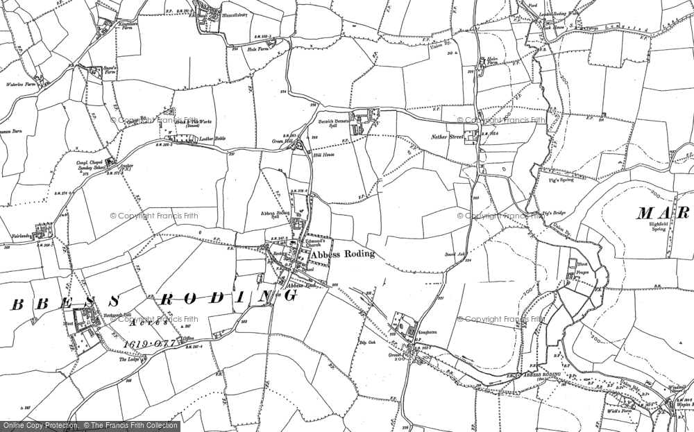 Old Map of Historic Map covering Abbess End in 1895