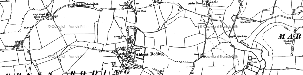 Old map of Abbess Roding in 1895
