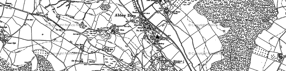 Old map of Abbey Dore in 1886