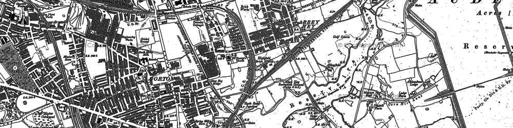 Old map of Abbey Hey in 1890
