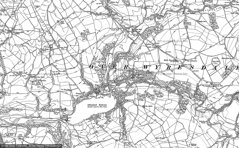 Old Map of Historic Map covering Abbeystead Resr in 1910