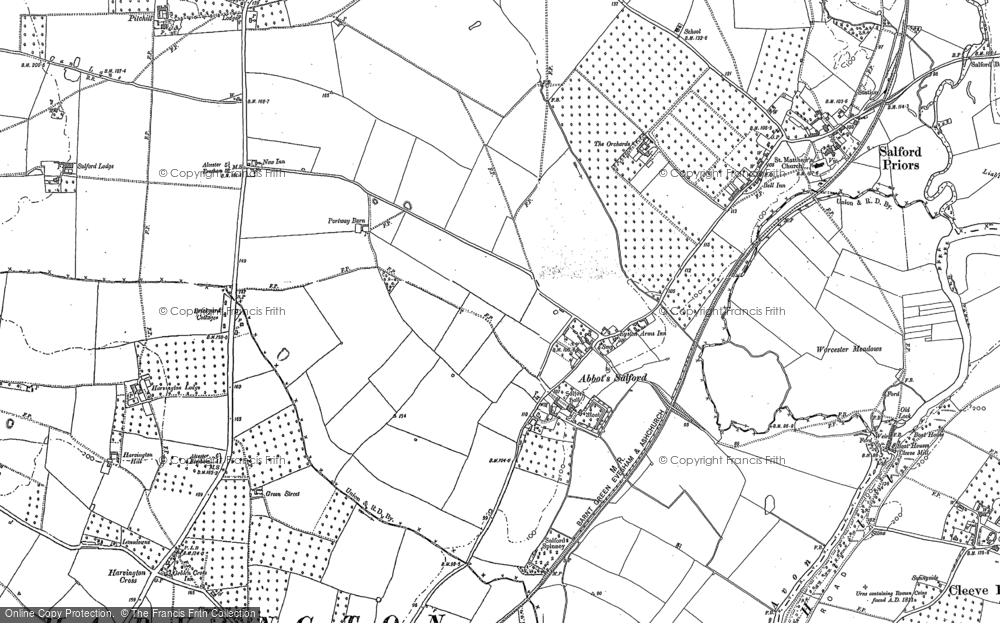 Old Map of Abbot's Salford, 1883 - 1903 in 1883