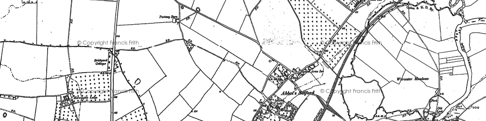 Old map of Abbot's Salford in 1883