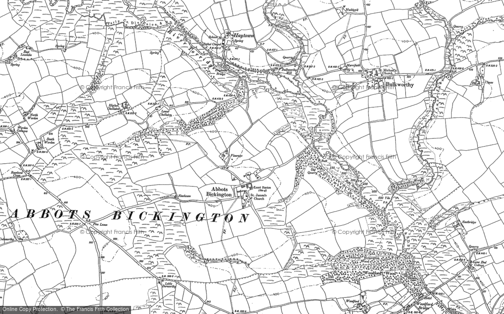 Old Map of Abbots Bickington, 1884 in 1884