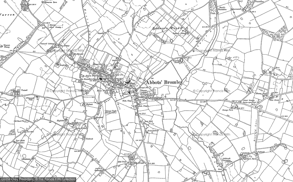 Old Map of Abbots Bromley, 1881 in 1881