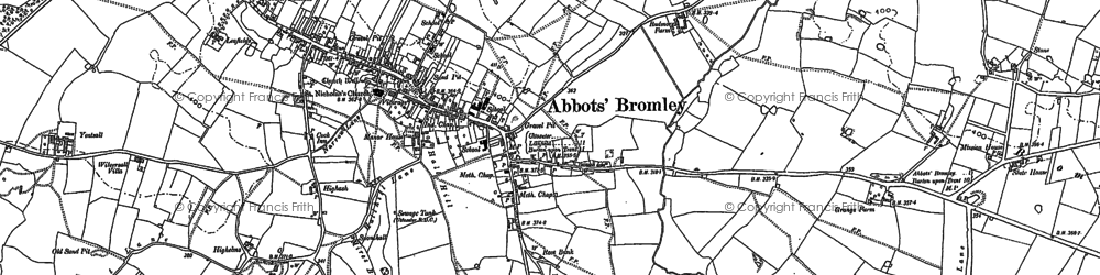 Old map of Abbots Bromley in 1881