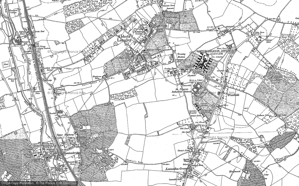 Map of Abbots Langley, 1896 - 1923