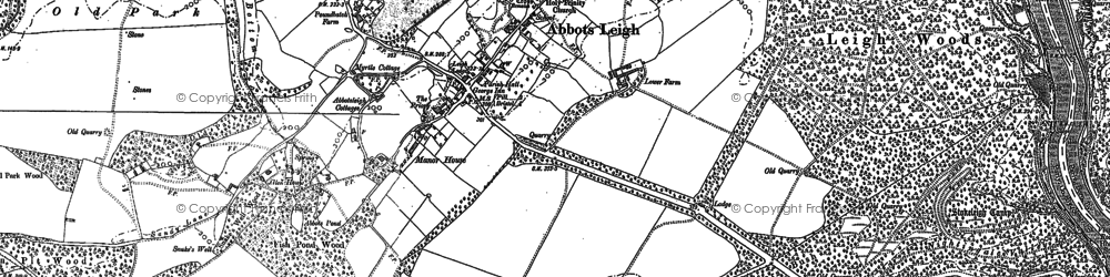 Old map of Abbots Leigh in 1883