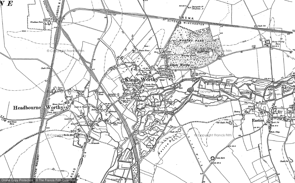 Old Map of Abbots Worthy, 1895 in 1895