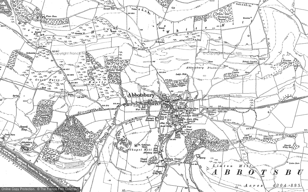 Old Map of Historic Map covering Abbotsbury Plains in 1901