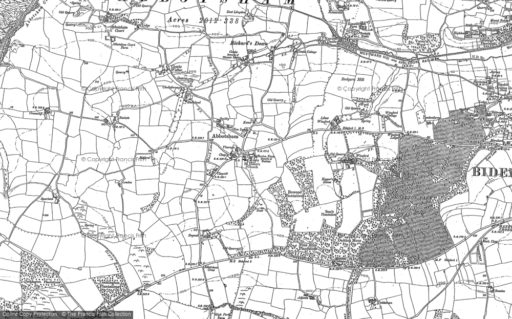 Old Map of Historic Map covering Abbotsham Court in 1886