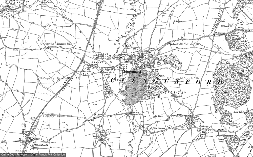 Old Map of Abcott, 1883 - 1902 in 1883
