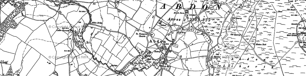 Old map of Abdon in 1883