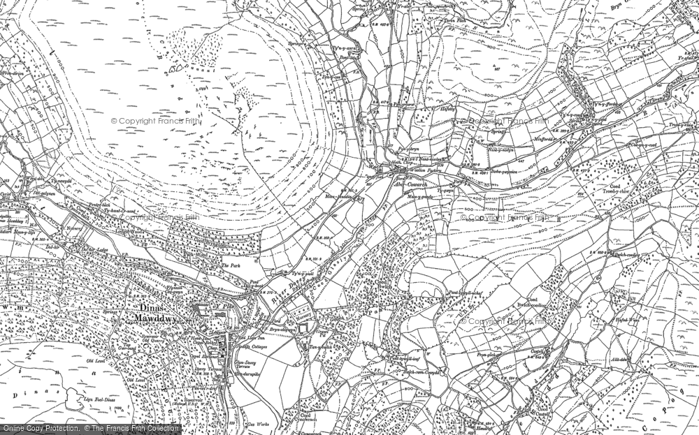 Old Map of Historic Map covering Afon Cywarch in 1900