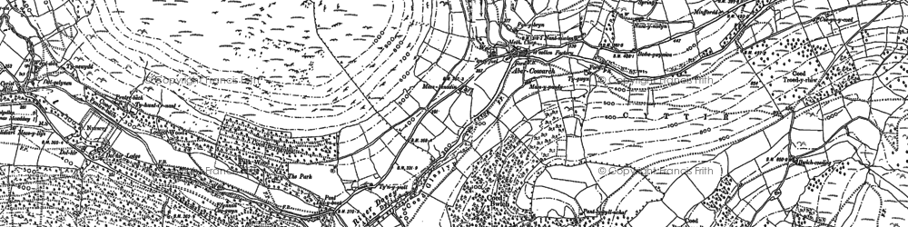 Old map of Afon Cywarch in 1900