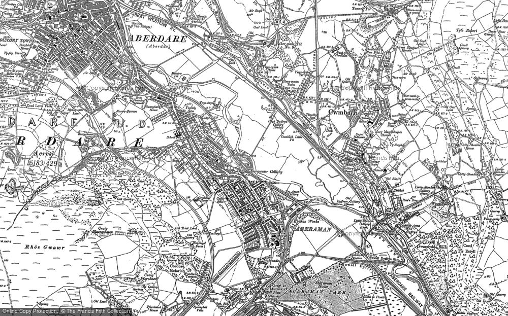 Old Map of Aberaman, 1898 in 1898