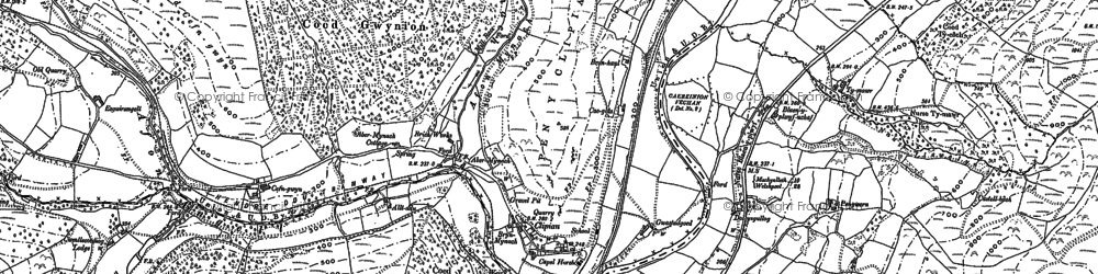 Old map of Aberangell in 1900