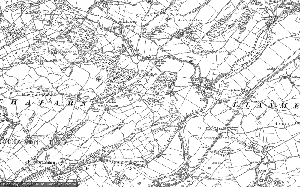 Old Map of Historic Map covering Aberbechan Dike in 1884