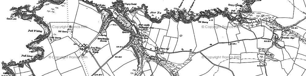 Old map of Abercastle in 1906