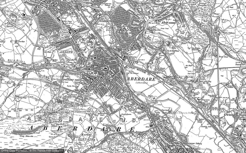 Old Map of Aberdare, 1898 in 1898