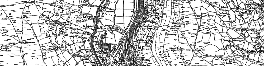 Old map of Aberfan in 1898