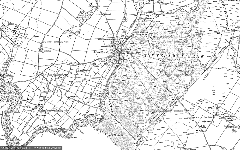 Old Map of Historic Map covering Aberffraw Bay in 1899