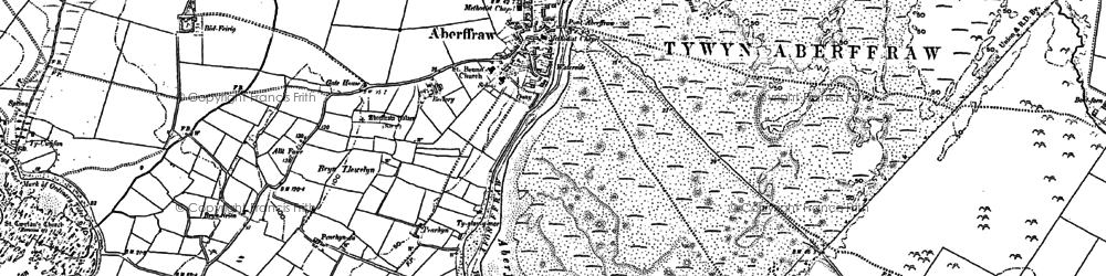 Old map of Aberffraw in 1899