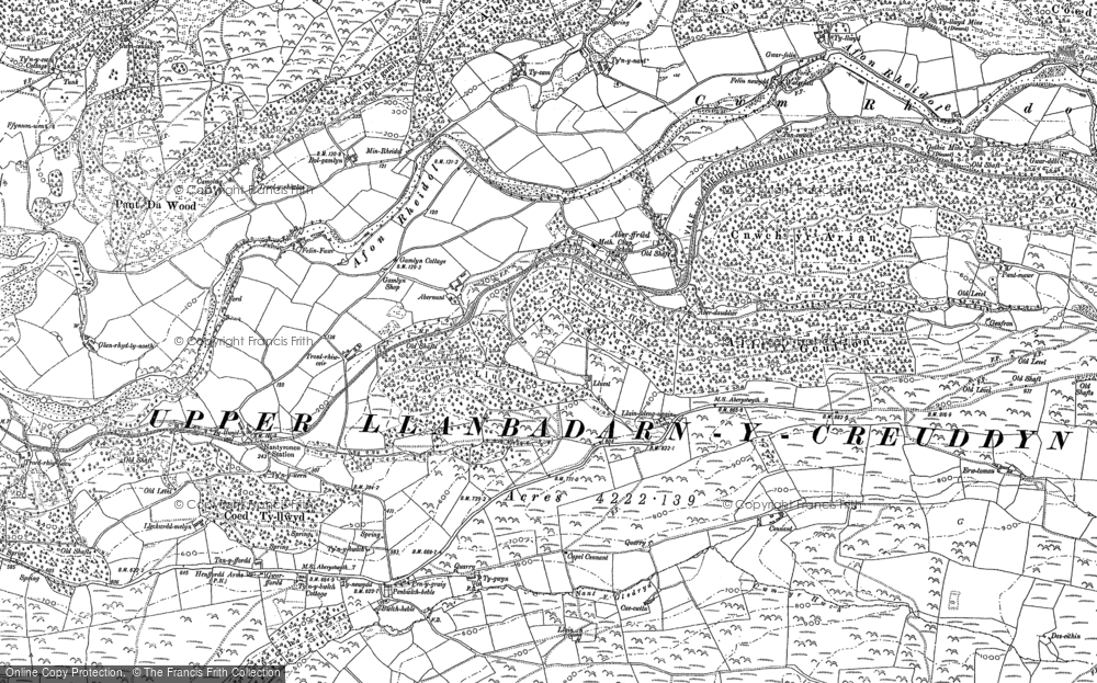 Old Map of Historic Map covering Abernant in 1886
