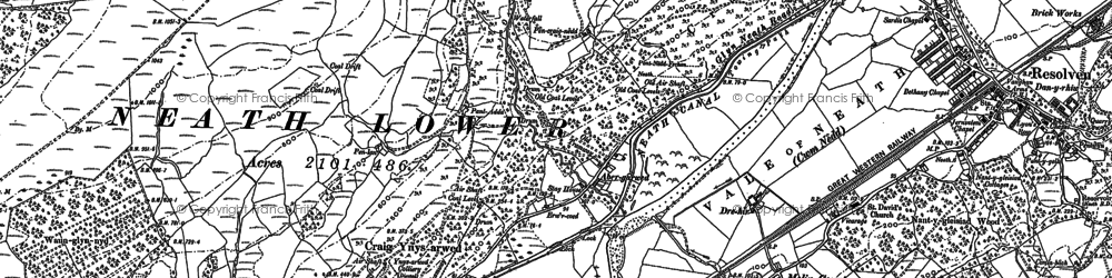 Old map of Abergarwed in 1897
